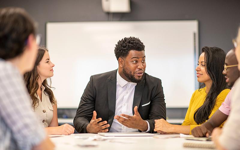 Leader talking during meeting